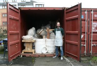 Nick Evans with his stored sculptures, photo by Kate V Robertson 2018